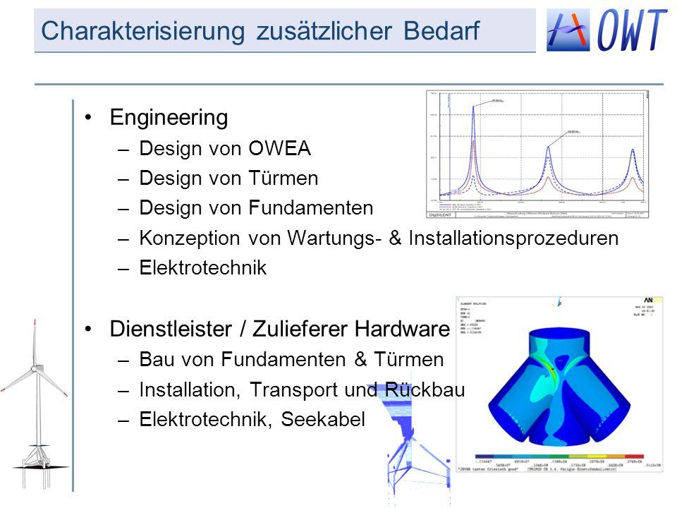 Charakterisierung zusätzlicher Bedarf Engineering –Design von OWEA –Design von Türmen –Design von Fundamenten –Konzeption von Wartungs- & Installation