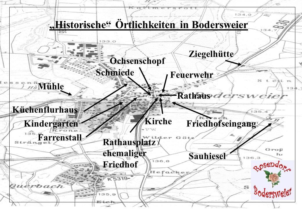 Mühle Ochsenschopf Kirche Schmiede Küchenflurhaus Friedhofseingang Rathausplatz / ehemaliger Friedhof Rathaus Farrenstall Ziegelhütte Feuerwehr Kinder