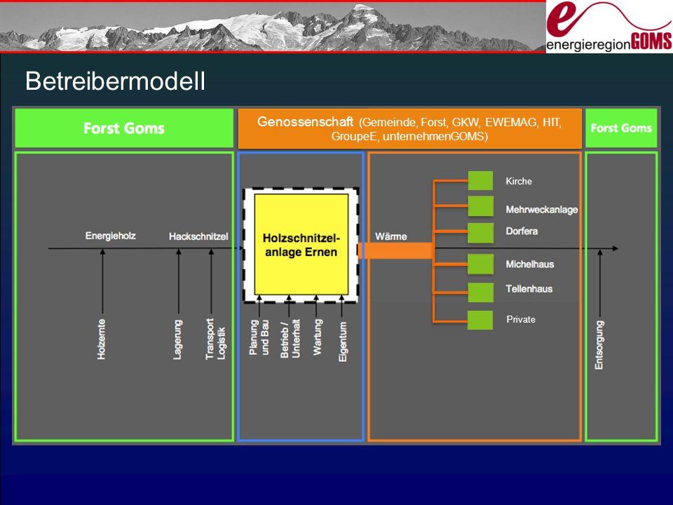 Betreibermodell Groupe-E Genossenschaft (Gemeinde, Forst, GKW, EWEMAG, HIT, GroupeE, unternehmenGOMS) Kirche Private
