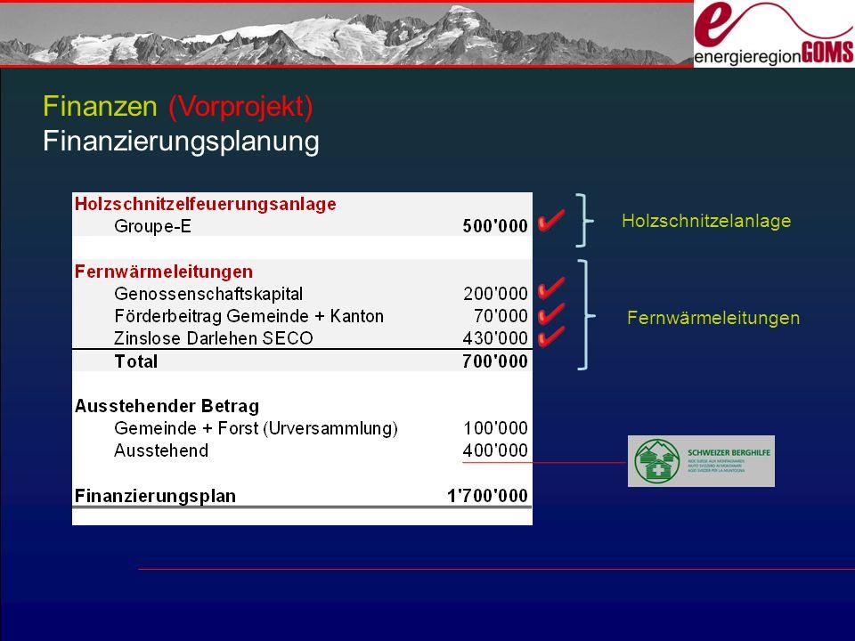 Finanzen (Vorprojekt) Finanzierungsplanung Holzschnitzelanlage Fernwärmeleitungen