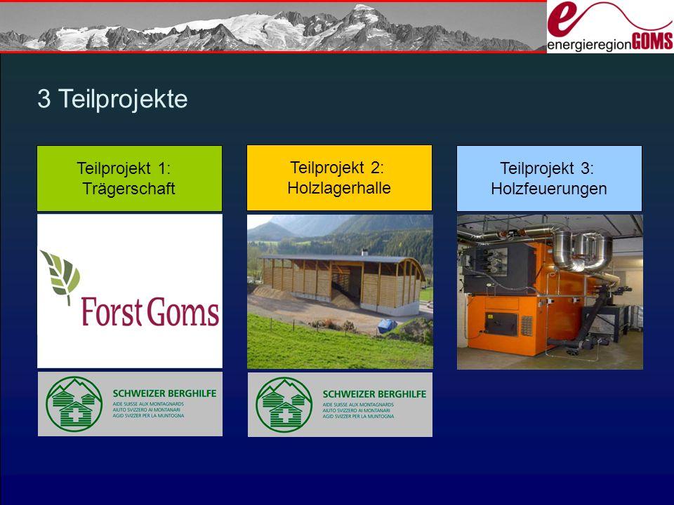 3 Teilprojekte Teilprojekt 2: Holzlagerhalle Teilprojekt 1: Trägerschaft Teilprojekt 3: Holzfeuerungen