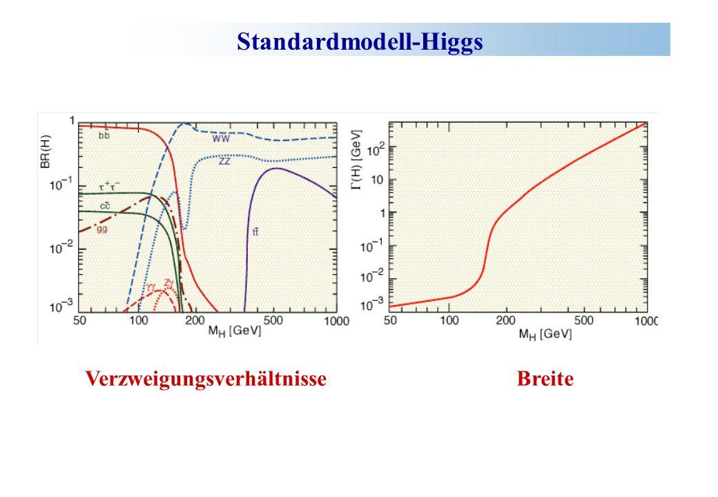 Standardmodell-Higgs Verzweigungsverhältnisse Breite