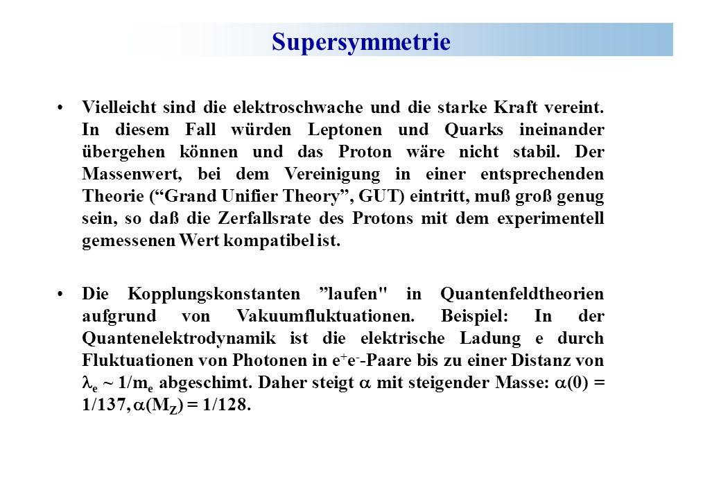 Supersymmetrie Um bei hohen Energien unnatürlich große Strahlungskorrekturen zur Higgsmasse zu vermeiden und damit das so genannte Hierarchieproblem zu vermeiden, fordert man zu jedem SM-Fermion einen supersymmetrischen Boson-Partner und vice versa.