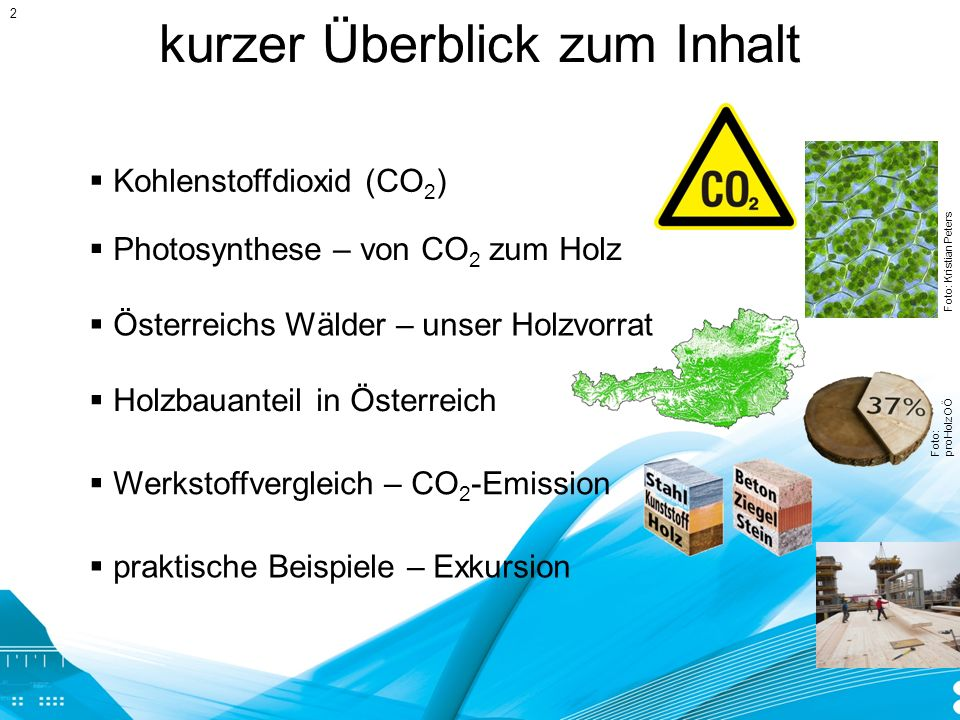 kurzer Überblick zum Inhalt Kohlenstoffdioxid (CO 2 ) Photosynthese – von CO 2 zum Holz Foto: Kristian Peters Österreichs Wälder – unser Holzvorrat Ho