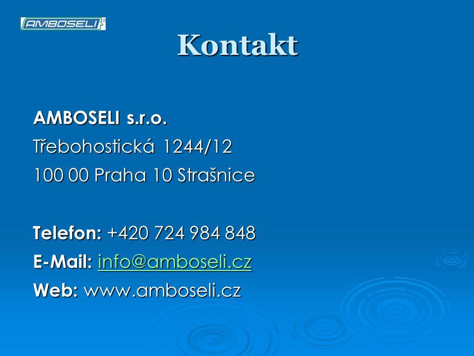 Kontakt AMBOSELI s.r.o. Třebohostická 1244/12 100 00 Praha 10 Strašnice Telefon: +420 724 984 848 E-Mail: info@amboseli.cz info@amboseli.cz Web: www.a