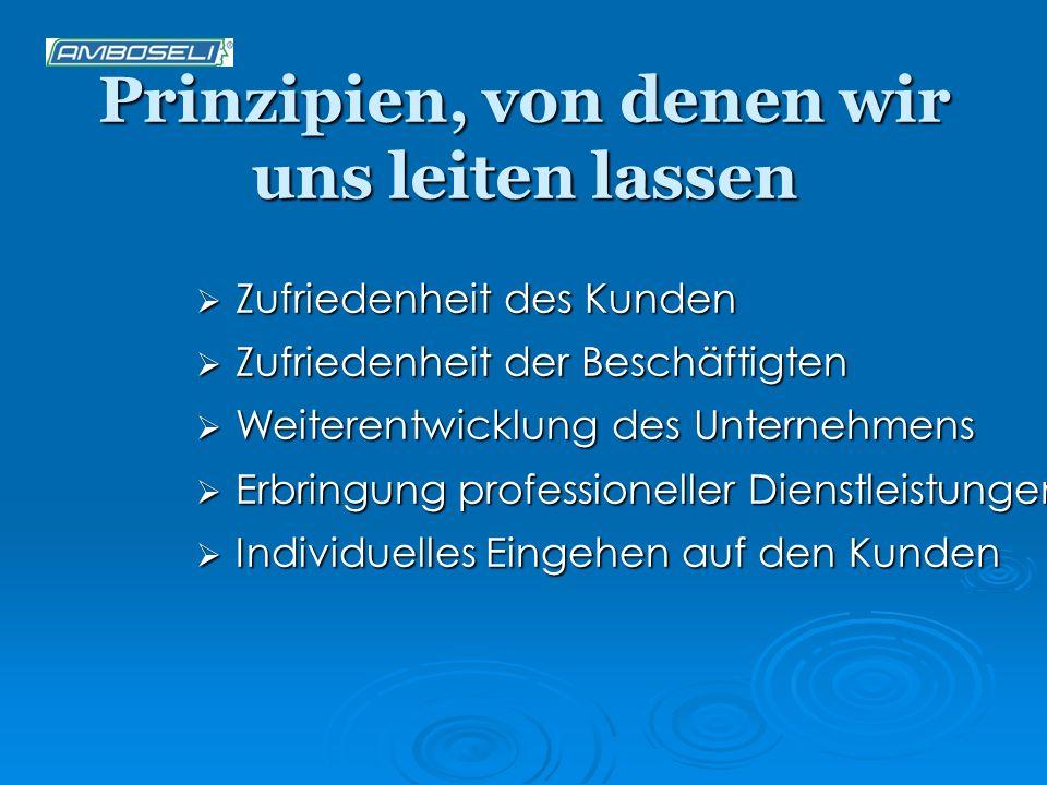Prinzipien, von denen wir uns leiten lassen Zufriedenheit des Kunden Zufriedenheit des Kunden Zufriedenheit der Beschäftigten Zufriedenheit der Beschä