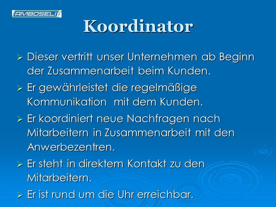 Koordinator Dieser vertritt unser Unternehmen ab Beginn der Zusammenarbeit beim Kunden. Dieser vertritt unser Unternehmen ab Beginn der Zusammenarbeit