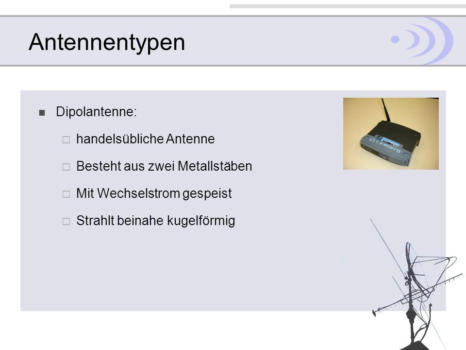 Antennentypen Dipolantenne: handelsübliche Antenne Besteht aus zwei Metallstäben Mit Wechselstrom gespeist Strahlt beinahe kugelförmig