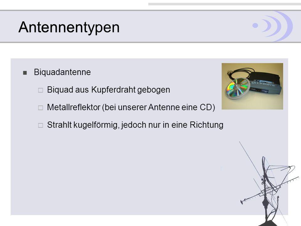 AntennentypenAntennen Biquadantenne Biquad aus Kupferdraht gebogen Metallreflektor (bei unserer Antenne eine CD) Strahlt kugelförmig, jedoch nur in ei