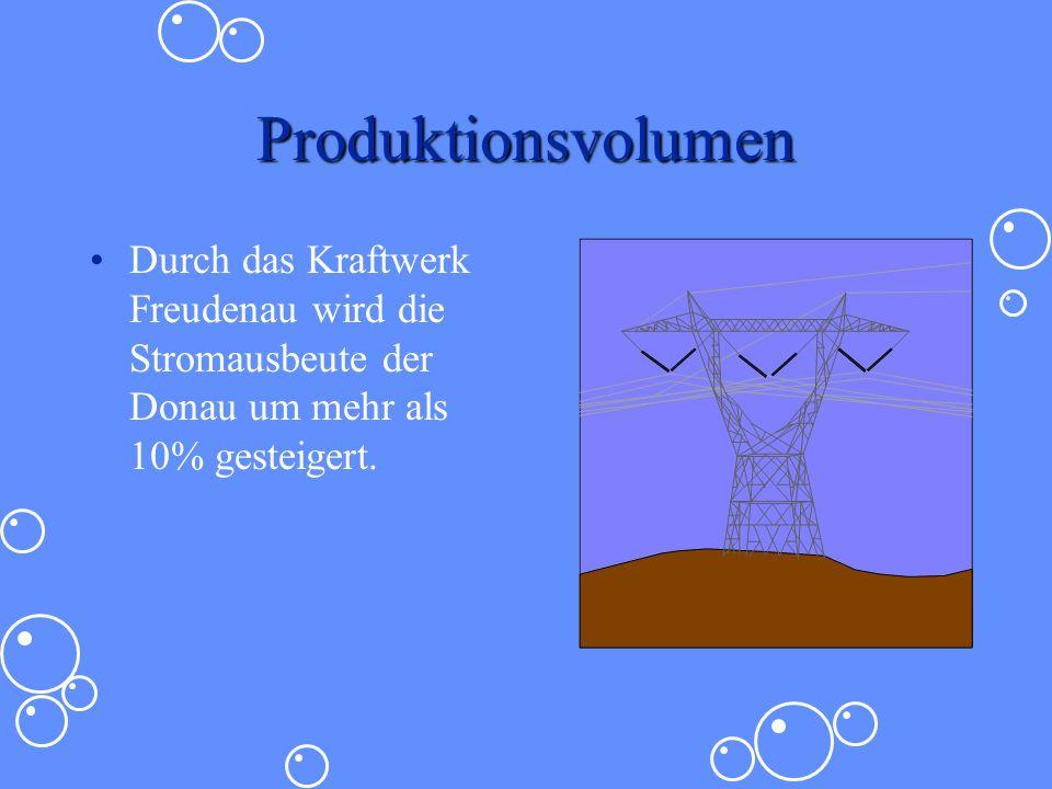 Produktionsvolumen Durch das Kraftwerk Freudenau wird die Stromausbeute der Donau um mehr als 10% gesteigert.