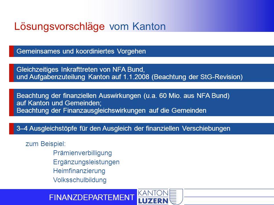FINANZDEPARTEMENT Lösungsvorschläge vom Kanton Gemeinsames und koordiniertes Vorgehen Gleichzeitiges Inkrafttreten von NFA Bund, und Aufgabenzuteilung