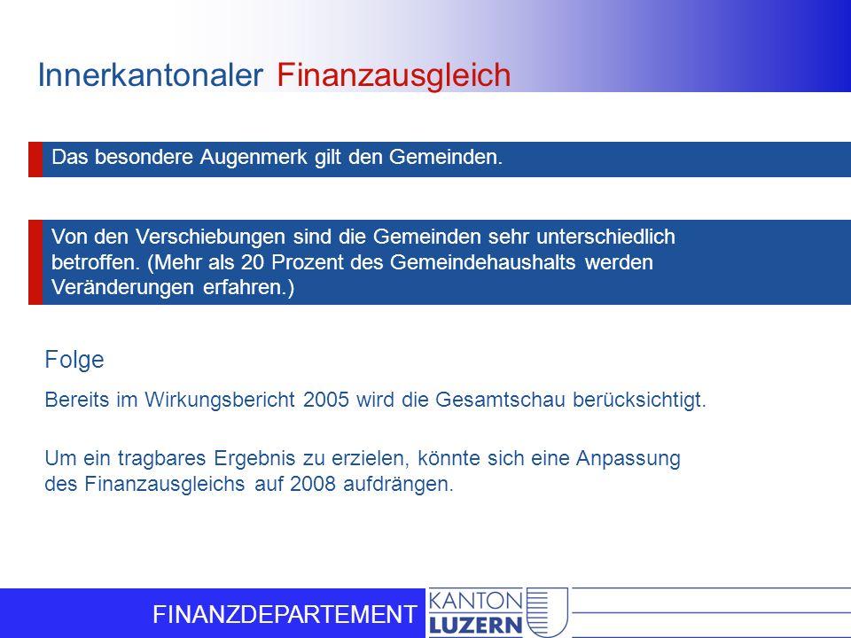 FINANZDEPARTEMENT Innerkantonaler Finanzausgleich Das besondere Augenmerk gilt den Gemeinden. Von den Verschiebungen sind die Gemeinden sehr unterschi