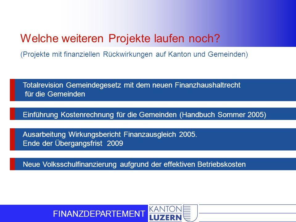 FINANZDEPARTEMENT Welche weiteren Projekte laufen noch? (Projekte mit finanziellen Rückwirkungen auf Kanton und Gemeinden)) Neue Volksschulfinanzierun