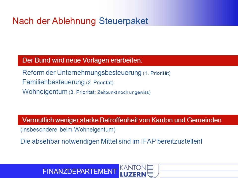 FINANZDEPARTEMENT Nach der Ablehnung Steuerpaket Der Bund wird neue Vorlagen erarbeiten: Vermutlich weniger starke Betroffenheit von Kanton und Gemein