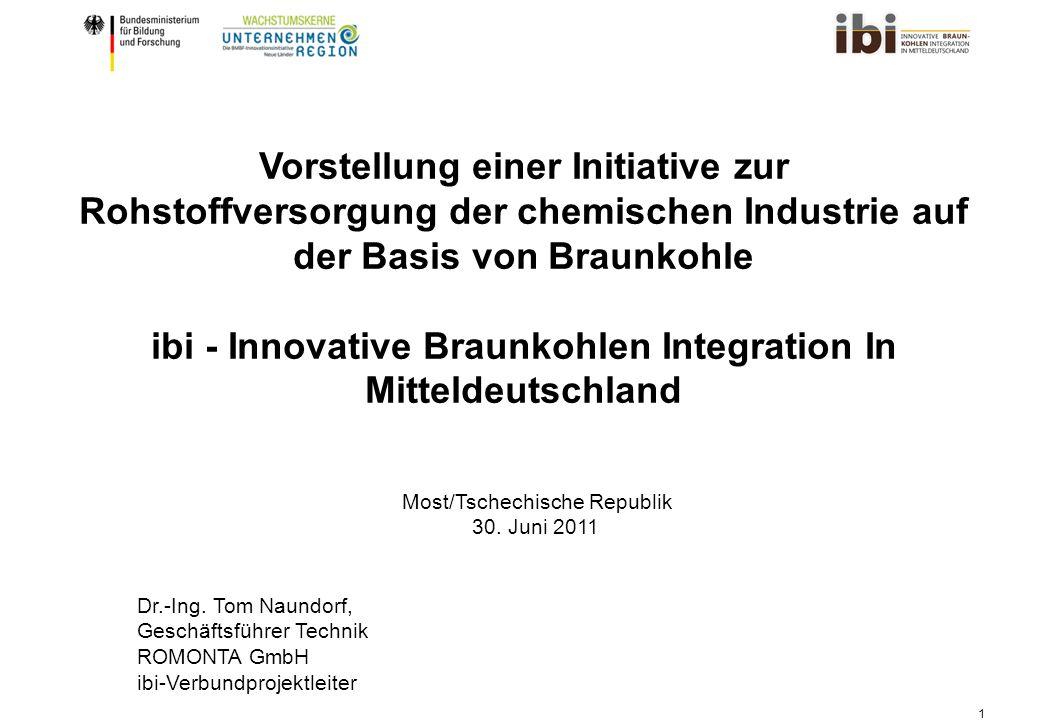 1 Vorstellung einer Initiative zur Rohstoffversorgung der chemischen Industrie auf der Basis von Braunkohle ibi - Innovative Braunkohlen Integration In Mitteldeutschland Dr.-Ing.