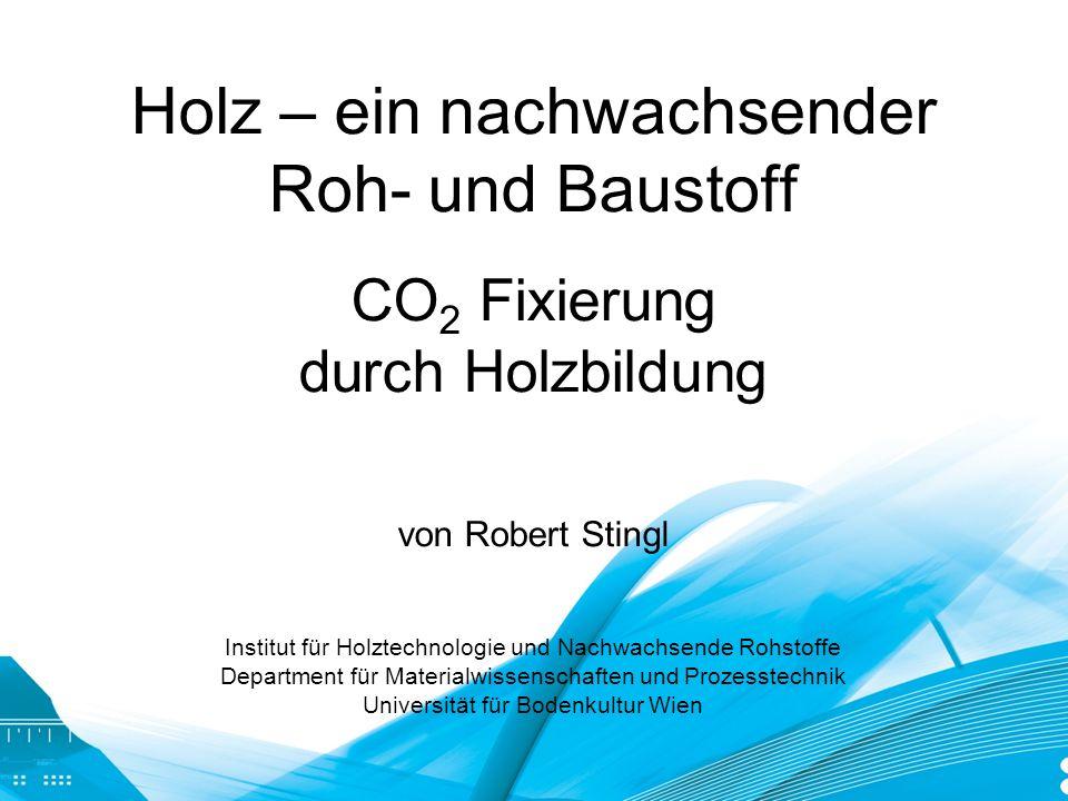 Holz – ein nachwachsender Roh- und Baustoff CO 2 Fixierung durch Holzbildung von Robert Stingl Institut für Holztechnologie und Nachwachsende Rohstoff