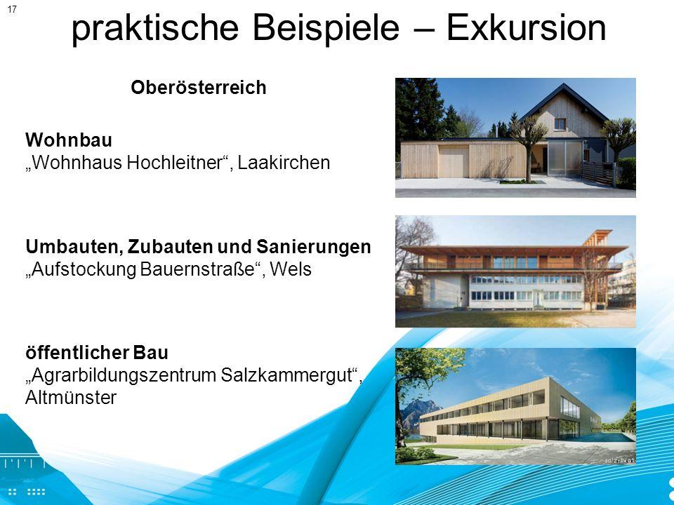 praktische Beispiele – Exkursion Umbauten, Zubauten und Sanierungen Aufstockung Bauernstraße, Wels Wohnbau Wohnhaus Hochleitner, Laakirchen öffentlich