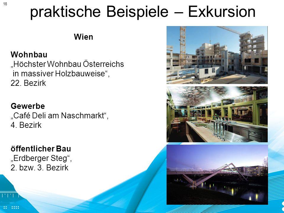 praktische Beispiele – Exkursion Gewerbe Café Deli am Naschmarkt, 4. Bezirk Wohnbau Höchster Wohnbau Österreichs in massiver Holzbauweise, 22. Bezirk