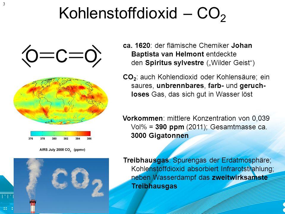 Kohlenstoffdioxid – CO 2 ca. 1620: der flämische Chemiker Johan Baptista van Helmont entdeckte den Spiritus sylvestre (Wilder Geist) CO 2 : auch Kohle