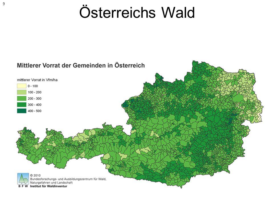 Österreichs Wald Fläche Österreichs: 83.879 km² Waldfläche Österreichs: ca. 39.910 km² Bewaldungsgrad: 48 Prozent Mittlerer Holzvorrat in Österreichs: