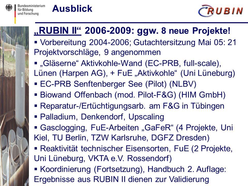 Ausblick RUBIN II 2006-2009: ggw. 8 neue Projekte.