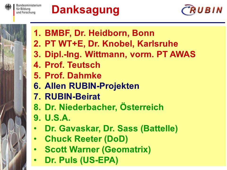 1. 1.BMBF, Dr. Heidborn, Bonn 2. 2.PT WT+E, Dr.