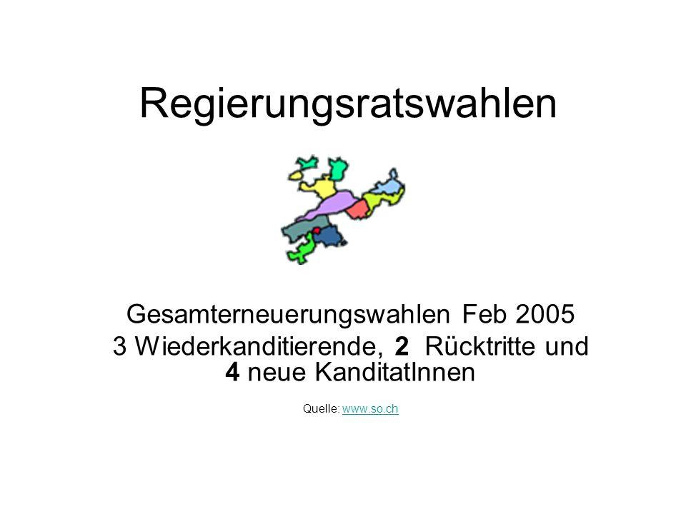 Regierungsratswahlen Gesamterneuerungswahlen Feb 2005 3 Wiederkanditierende, 2 Rücktritte und 4 neue KanditatInnen Quelle: www.so.chwww.so.ch