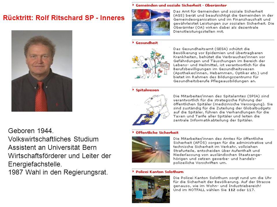 Rücktritt: Rolf Ritschard SP - Inneres Geboren 1944. Volkswirtschaftliches Studium Assistent an Universität Bern Wirtschaftsförderer und Leiter der En