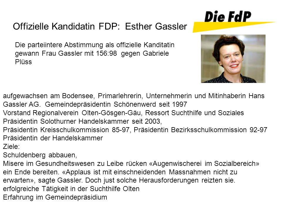 Die parteiintere Abstimmung als offizielle Kanditatin gewann Frau Gassler mit 156:98 gegen Gabriele Plüss Offizielle Kandidatin FDP: Esther Gassler au