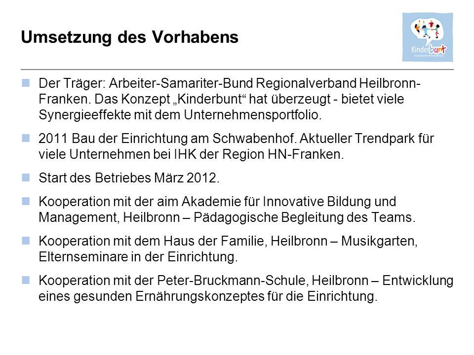 Umsetzung des Vorhabens Der Träger: Arbeiter-Samariter-Bund Regionalverband Heilbronn- Franken. Das Konzept Kinderbunt hat überzeugt - bietet viele Sy