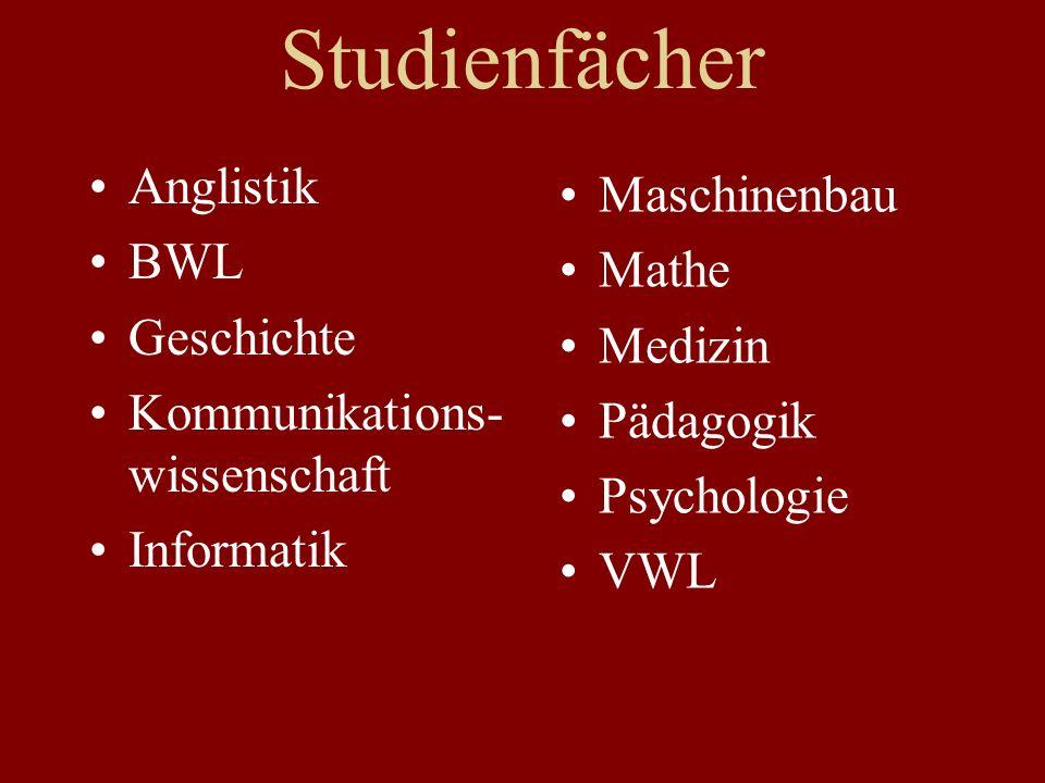 Studienfächer Anglistik BWL Geschichte Kommunikations- wissenschaft Informatik Maschinenbau Mathe Medizin Pädagogik Psychologie VWL