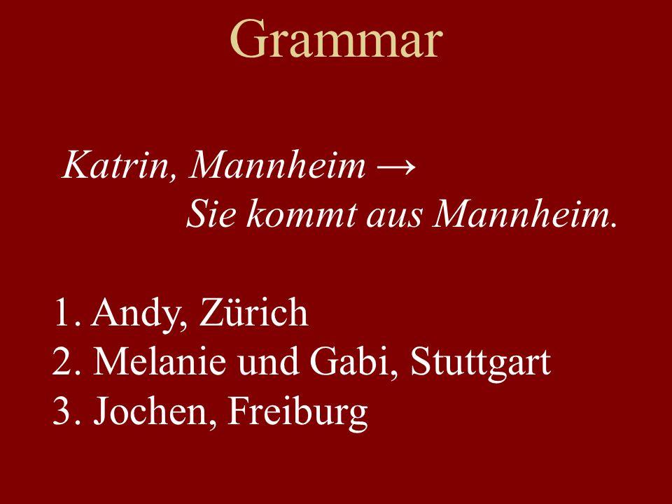 Grammar Katrin, Mannheim Sie kommt aus Mannheim. 1. Andy, Zürich 2. Melanie und Gabi, Stuttgart 3. Jochen, Freiburg