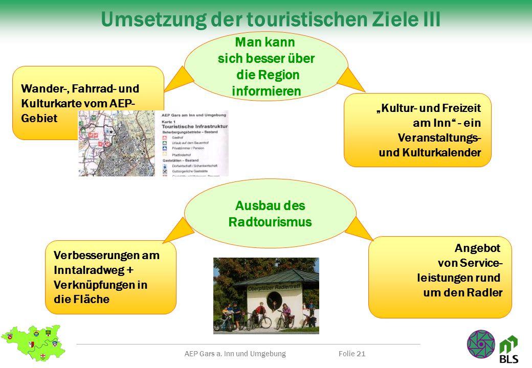 AEP Gars a. Inn und UmgebungFolie 21 Umsetzung der touristischen Ziele III Kultur- und Freizeit am Inn - ein Veranstaltungs- und Kulturkalender Man ka