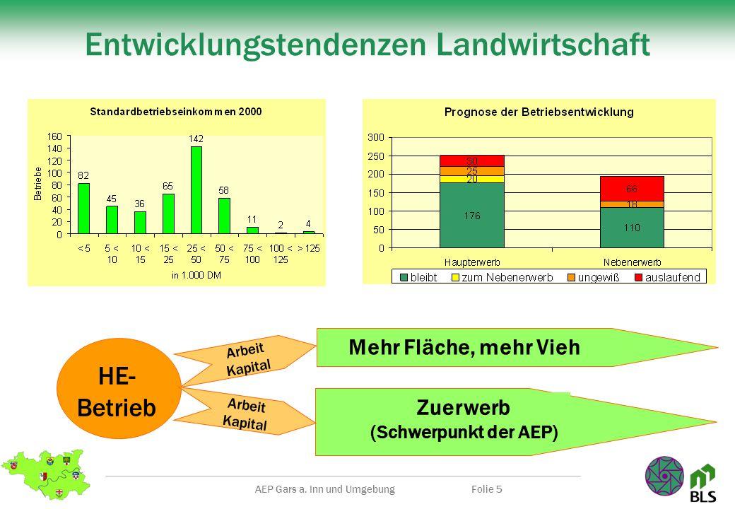 AEP Gars a. Inn und UmgebungFolie 5 Entwicklungstendenzen Landwirtschaft Mehr Fläche, mehr Vieh Zuerwerb (Schwerpunkt der AEP) Arbeit Kapital HE- Betr