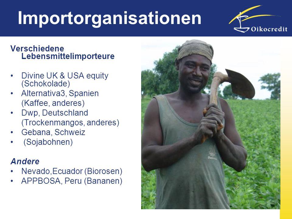 Verschiedene Lebensmittelimporteure Divine UK & USA equity (Schokolade) Alternativa3, Spanien (Kaffee, anderes) Dwp, Deutschland (Trockenmangos, ander