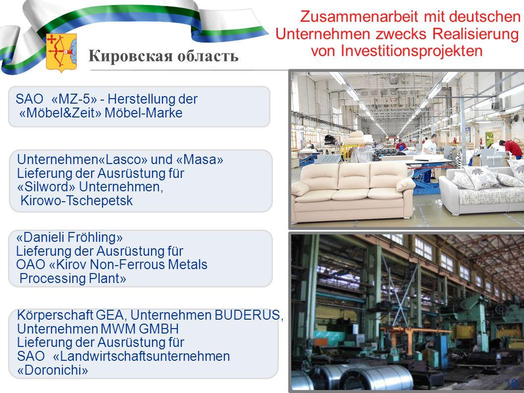 Кировская область SAO «MZ-5» - Herstellung der «Möbel&Zeit» Möbel-Marke Unternehmen«Lasco» und «Masa» Lieferung der Ausrüstung für «Silword» Unternehm
