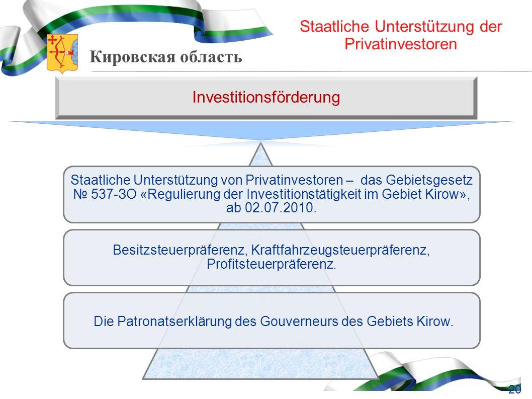 Кировская область Staatliche Unterstützung der Privatinvestoren Staatliche Unterstützung von Privatinvestoren – das Gebietsgesetz 537-ЗО «Regulierung