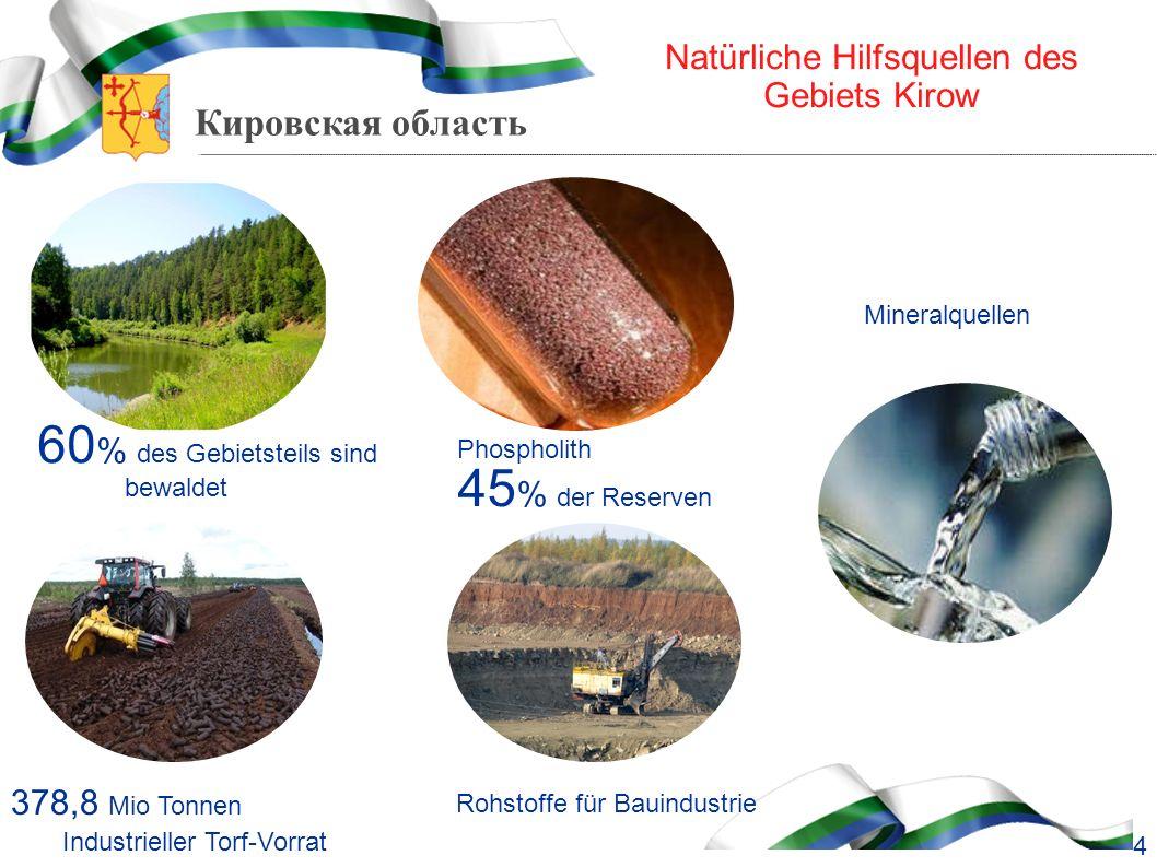 Кировская область Natürliche Hilfsquellen des Gebiets Kirow 60 % des Gebietsteils sind bewaldet Phospholith 45 % der Reserven Rohstoffe für Bauindustr