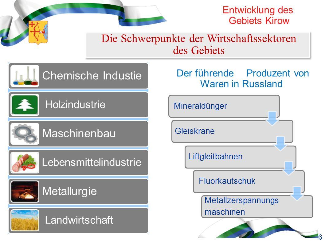 Кировская область Außenwirtschaftliche Kooperation Unternehmen des Gebiets exportieren Deutsche Unternehmen importieren Stickstoffdüngemittel; Polymerisationsprodukte; Nadelschnittholz; Furnier; Kupferwaren.
