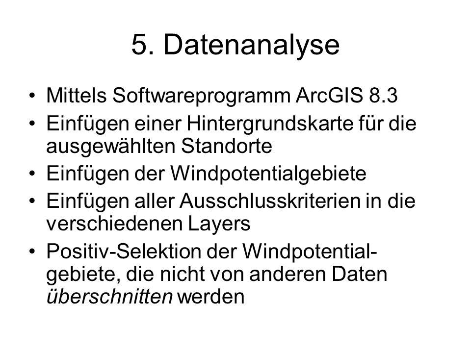 5. Datenanalyse Mittels Softwareprogramm ArcGIS 8.3 Einfügen einer Hintergrundskarte für die ausgewählten Standorte Einfügen der Windpotentialgebiete