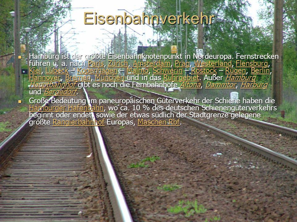 Eisenbahnverkehr Hamburg ist der größte Eisenbahnknotenpunkt in Nordeuropa.