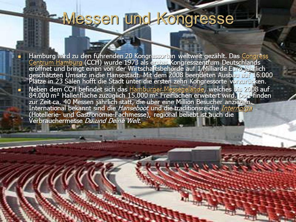 Messen und Kongresse Hamburg wird zu den führenden 20 Kongressorten weltweit gezählt.