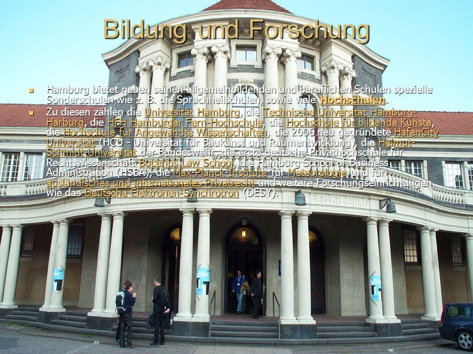 Bildung und Forschung Hamburg bietet neben seinen allgemeinbildenden und beruflichen Schulen spezielle Sonderschulen wie z.