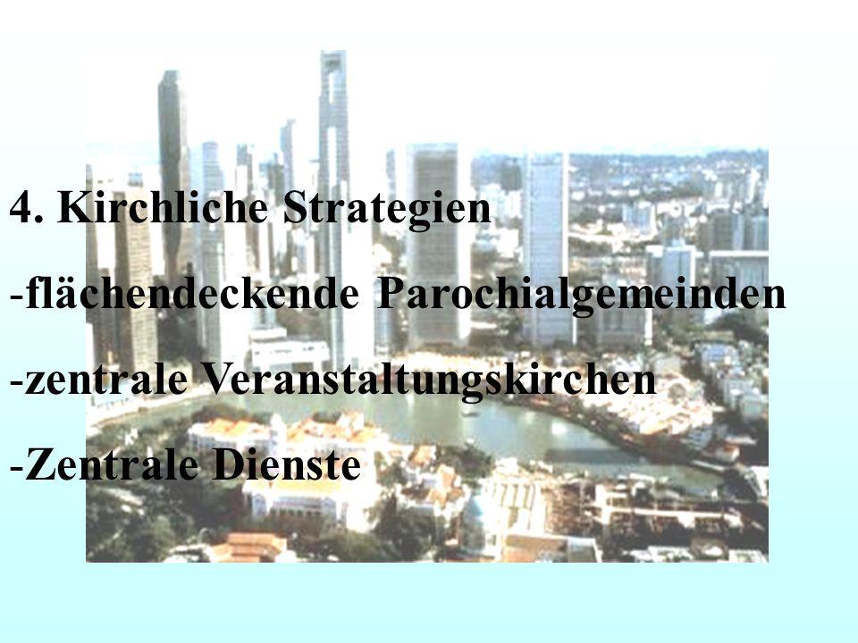 4. Kirchliche Strategien -flächendeckende Parochialgemeinden -zentrale Veranstaltungskirchen -Zentrale Dienste