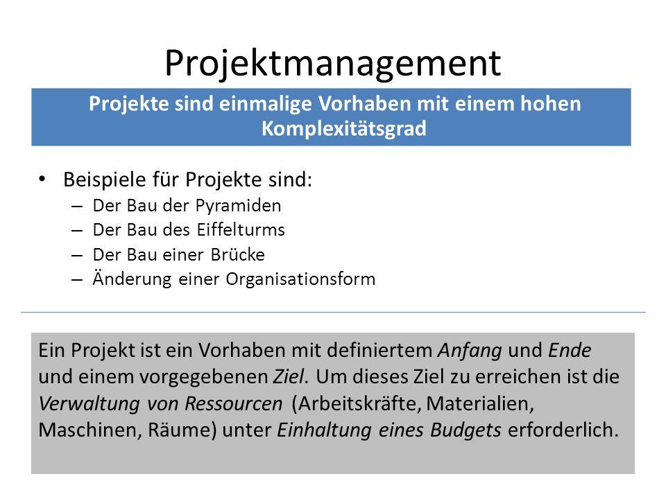 Beispiele für Projekte sind: – Der Bau der Pyramiden – Der Bau des Eiffelturms – Der Bau einer Brücke – Änderung einer Organisationsform Projektmanage