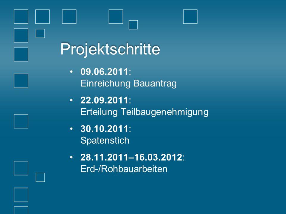 Projektschritte 09.06.2011: Einreichung Bauantrag 22.09.2011: Erteilung Teilbaugenehmigung 30.10.2011: Spatenstich 28.11.2011–16.03.2012: Erd-/Rohbaua