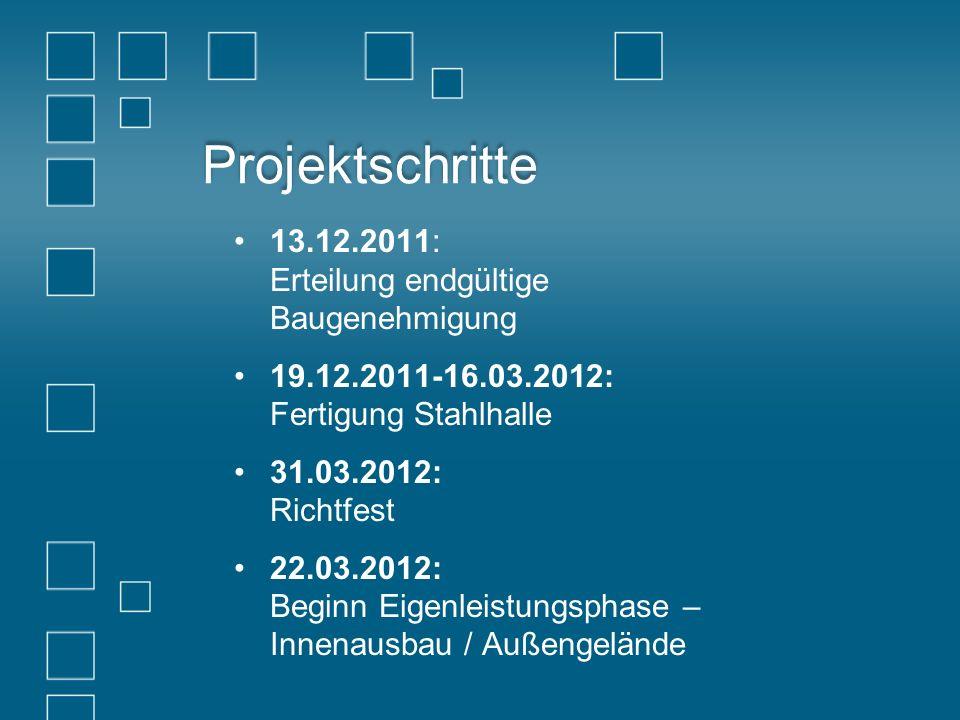 Projektschritte 13.12.2011: Erteilung endgültige Baugenehmigung 19.12.2011-16.03.2012: Fertigung Stahlhalle 31.03.2012: Richtfest 22.03.2012: Beginn E