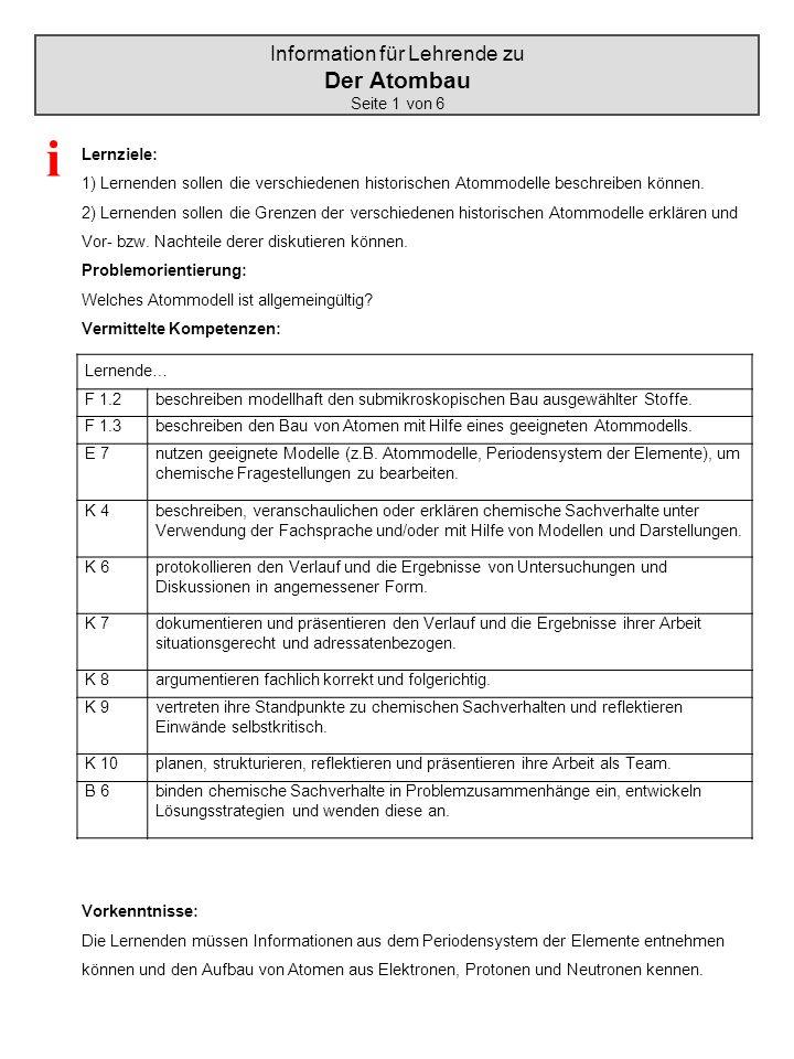 Information für Lehrende zu Der Atombau Seite 1 von 6 Lernziele: 1) Lernenden sollen die verschiedenen historischen Atommodelle beschreiben können. 2)