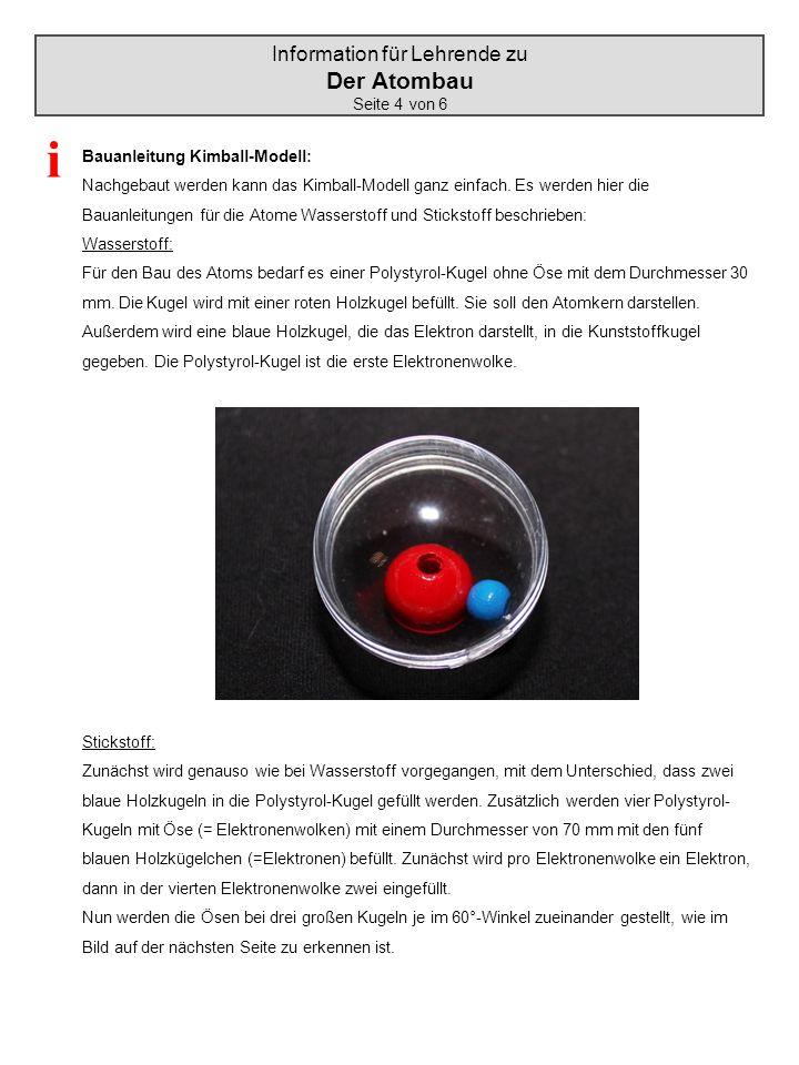 Information für Lehrende zu Der Atombau Seite 4 von 6 Bauanleitung Kimball-Modell: Nachgebaut werden kann das Kimball-Modell ganz einfach. Es werden h