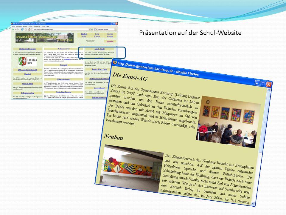 Präsentation auf der Schul-Website